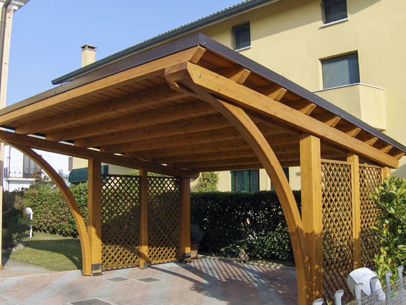 Tettoia copertura auto in legno round r02207 for Costo del portico anteriore