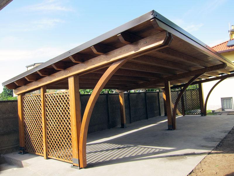 Tettoia di legno modulare per quattro posti auto round r04310 for Coperture in legno per auto usate