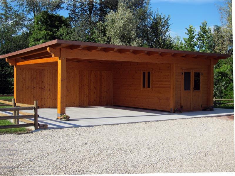 Car port in legno biposto con box cb02110 for Coperture in legno per auto usate