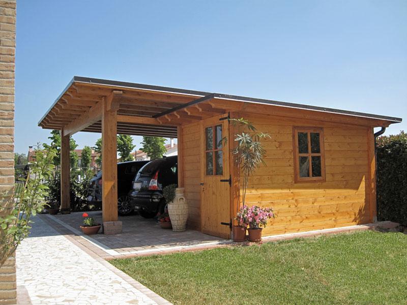 Car port in legno e casetta monofalda semi integrata cb02210 for Immagini di tettoie in legno