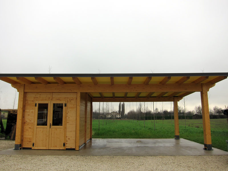Carport di legno con box modelo classic cb02310 for Immagini di tettoie in legno