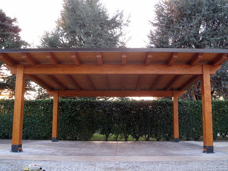 Carport in legno lamellare modello classic c02208 for Bricoman legno lamellare