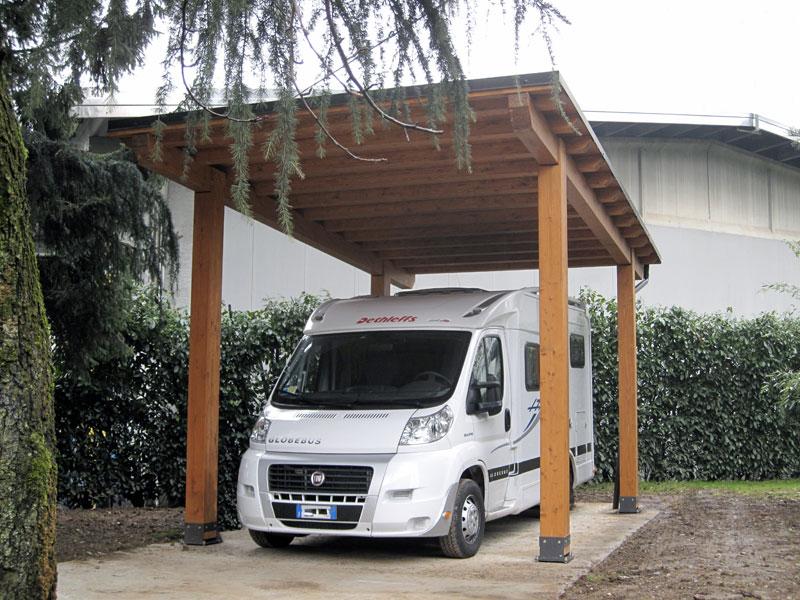Tettoia in legno carport per camper c01210 for Costo per costruire un garage per due auto