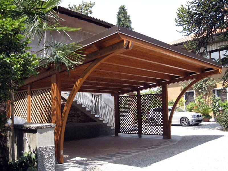 Tettoia per auto in legno lamellare round r02110 for Carport 2 posti