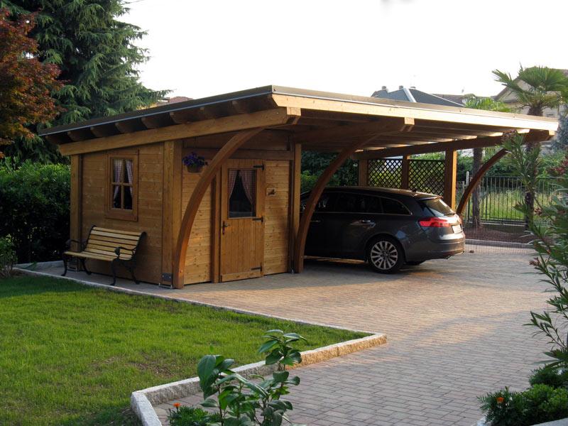 Tettoia in legno lamellare round rb02110 for Tettoie per auto ticino