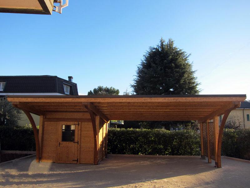 Tettoia in legno lamellare round rb02110 for Due box auto indipendenti