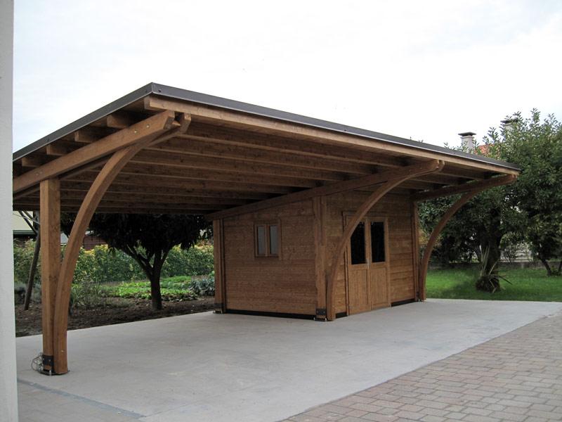 Tettoia di legno lamellare per auto round rb02310 for Immagini di tettoie in legno