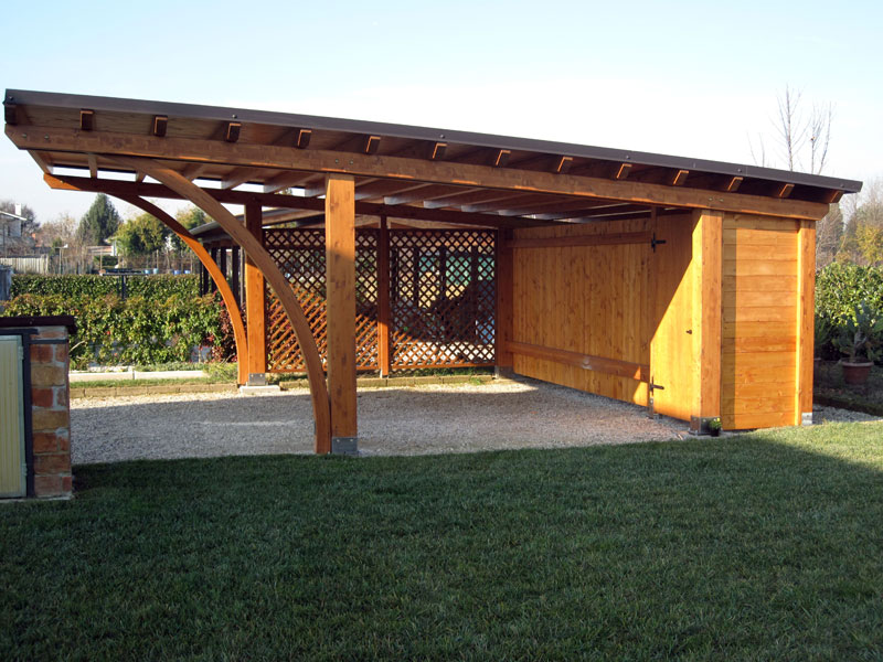 Tettoia per auto di legno lamellare round rb02407 for Immagini di tettoie in legno
