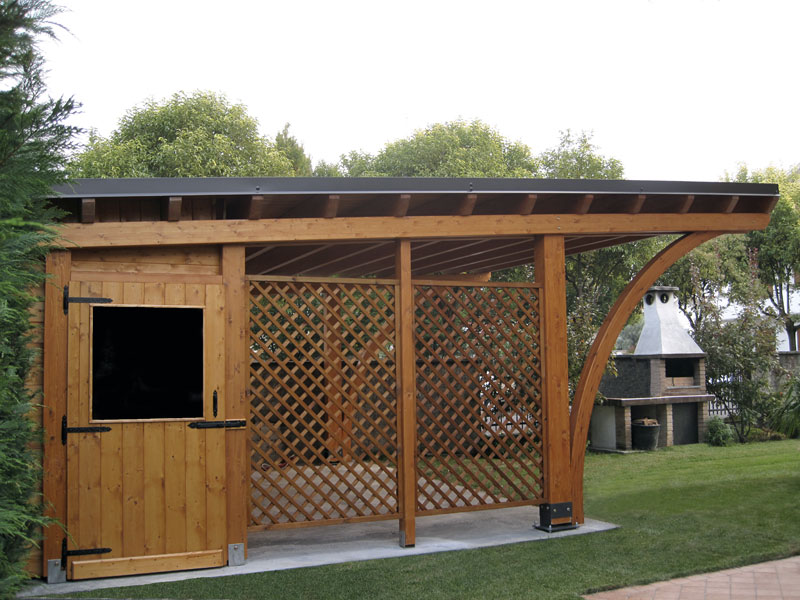 Tettoia carport in legno round rb02410 for Due box auto